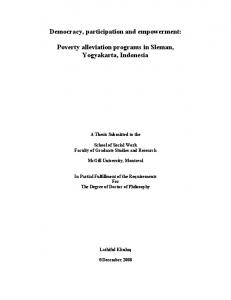 Democracy, participation and empowerment: Poverty alleviation programs in Sleman, Yogyakarta, Indonesia