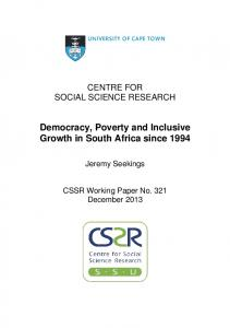 Democracy, Poverty and Inclusive Growth in South Africa since 1994