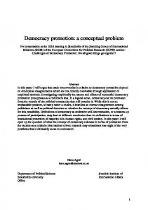 Democracy promotion: a conceptual problem