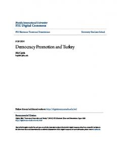 Democracy Promotion and Turkey