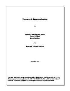 Democratic Decentralization