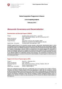 Democratic Governance and Decentralization