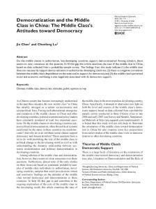 Democratization and the Middle Class in China: The Middle Class s Attitudes toward Democracy