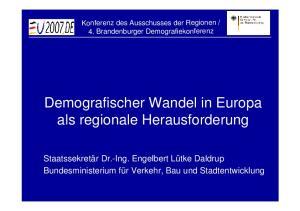Demografischer Wandel in Europa als regionale Herausforderung