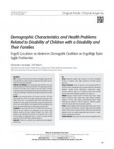 Demographic Characteristics and Health Problems Related to Disability of Children with a Disability and Their Families