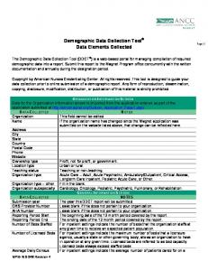Demographic Data Collection Tool Data Elements Collected