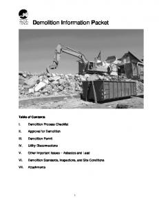 Demolition Information Packet
