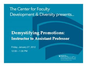 Demystifying Promotions: Instructor to Assistant Professor