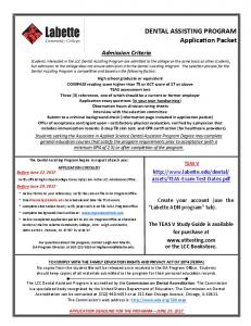 DENTAL ASSISTING PROGRAM Application Packet