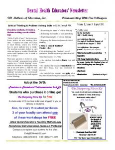 Dental Health Educators Newsletter
