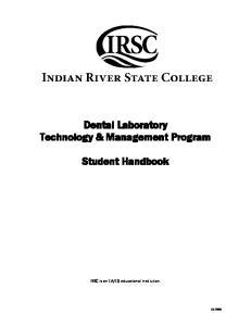 Dental Laboratory Technology & Management Program. Student Handbook