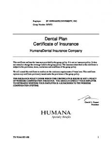 Dental Plan Certificate of Insurance