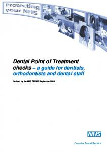 Dental Point of Treatment checks a guide for dentists, orthodontists and dental staff