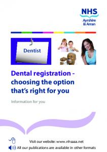 Dental registration - choosing the option that s right for you