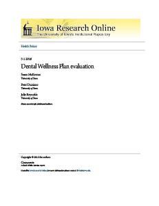 Dental Wellness Plan evaluation