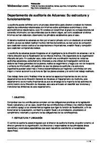 Departamento de auditoria de Aduanas: Su estructura y funcionamiento