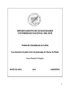 DEPARTAMENTO DE HUMANIDADES UNIVERSIDAD NACIONAL DEL SUR. Tesina de Licenciatura en Letras