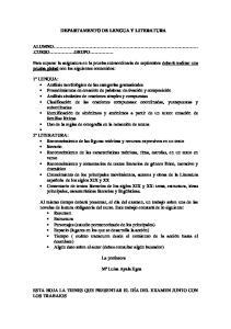 DEPARTAMENTO DE LENGUA Y LITERATURA