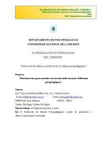 DEPARTAMENTO DE PSICOPEDAGOGIA UNIVERSIDAD NACIONAL DEL COMAHUE III JORNADAS DE PSICOPEDAGOGIA DEL COMAHUE: