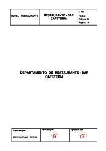 DEPARTAMENTO DE RESTAURANTE - BAR CAFETERÍA