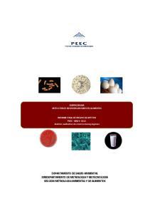 DEPARTAMENTO DE SALUD AMBIENTAL SUBDEPARTAMENTO DE METROLOGIA Y BIOTECNOLOGIA SECCION METROLOGIA AMBIENTAL Y DE ALIMENTOS