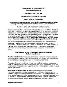 Departamento de Salud Publica del Condado de Mendocino DIVISION DE ENFERMERIA. Declaracion de Privacidad de Practicas