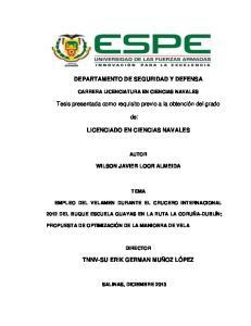 DEPARTAMENTO DE SEGURIDAD Y DEFENSA. de: LICENCIADO EN CIENCIAS NAVALES