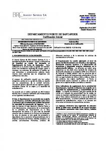 DEPARTAMENTO NORTE DE SANTANDER Calificación Inicial