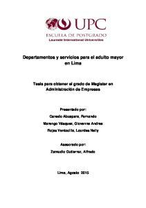 Departamentos y servicios para el adulto mayor en Lima