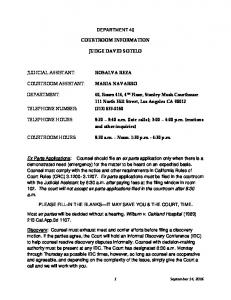 DEPARTMENT: COURTROOM INFORMATION JUDGE DAVID SOTELO