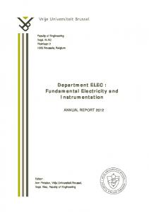 Department ELEC : Fundamental Electricity and Instrumentation