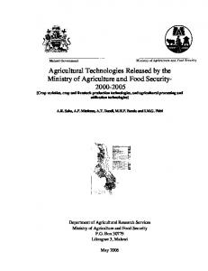 Department of Agricultural Research Services Ministry of Agriculture and Food Security P.O. Box Lilongwe 3, Malawi