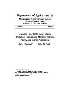 Department of Agricultural & Resource Economics, UCB