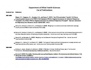 Department of Allied Health Sciences List of Publications