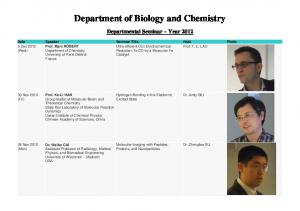 Department of Biology and Chemistry