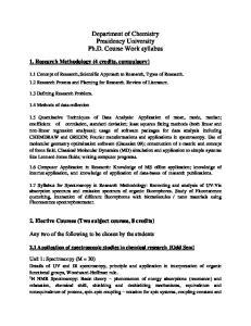 Department of Chemistry Presidency University Ph.D. Course Work syllabus