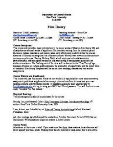 Department of Cinema Studies New York University Fall Film Theory