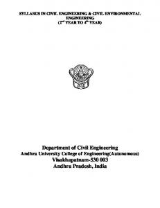Department of Civil Engineering Andhra University College of Engineering(Autonomous) Visakhapatnam Andhra Pradesh, India