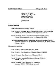 Department of Classics 100 Washington Square East New York University New York, NY New York University: Professor of Classics