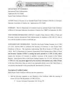 DEPARTMENT OF COMMERCE International Trade Administration Application No A001 Export Trade Certificate of Review