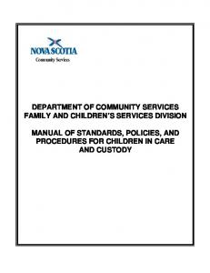 DEPARTMENT OF COMMUNITY SERVICES FAMILY AND CHILDREN S SERVICES DIVISION