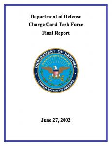 Department of Defense Charge Card Task Force Final Report