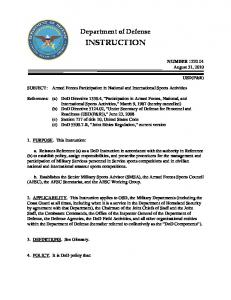 Department of Defense INSTRUCTION. Armed Forces Participation in National and International Sports Activities