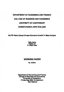 DEPARTMENT OF ECONOMICS AND FINANCE COLLEGE OF BUSINESS AND ECONOMICS UNIVERSITY OF CANTERBURY CHRISTCHURCH, NEW ZEALAND