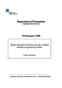 Department of Economics Copenhagen Business School