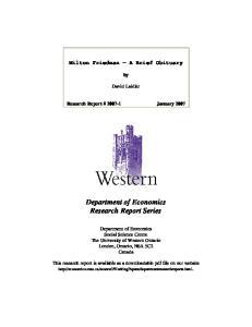 Department of Economics Research Report Series