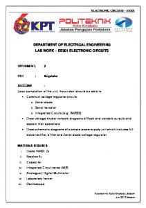 DEPARTMENT OF ELECTRICAL ENGINEERING LAB WORK EE301 ELECTRONIC CIRCUITS