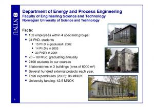 Department of Energy and Process Engineering Faculty of Engineering Science and Technology Norwegian University of Science and Technology