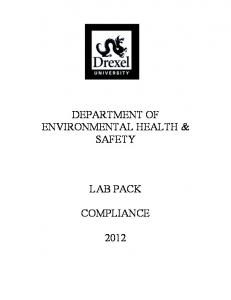 DEPARTMENT OF ENVIRONMENTAL HEALTH & SAFETY