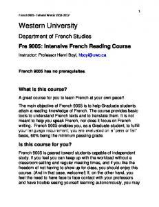 Department of French Studies Fre 9005: Intensive French Reading Course